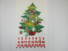 christmas tree advent calendar with 24 ornament personalized