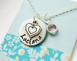 Stamped Name Necklace Girls Name Necklace Etsy