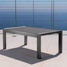 Aluminum Coffee Table Crested Bay Outdoor Gray Aluminum Coffee Table With Tempered Glass