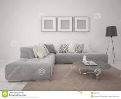 Corner Sofa Living Room Mock Up Modern Living Room With Comfortable Corner Sofa Stock