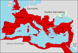 Map Of The Roman Empire Provincial Languages Of The Roman Empire In 150 Ce 1280x882