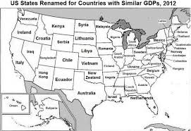 map us states world economies this map shows which us state has the same as south africa