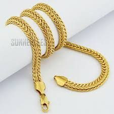 gold braided necklace images Fashion jewelry mens boys 18k yellow gold filled necklace braided jpg