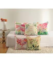 Swayam White N Pink Floral Swayam Cushions U0026 Covers Buy Online Best Price Snapdeal