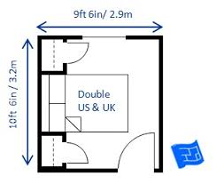 Size Double Bed Bedroom Size