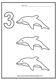 Coloring Numbers Ocean Theme Number 3 Coloring Page