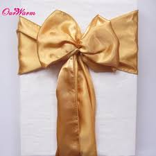 gold chair sashes aliexpress buy 50pcs gold satin chair sashes bands bow ties