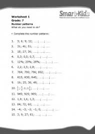 grade 7 maths worksheet number patterns smartkids