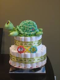 sea turtle neutral green diaper cake for baby shower centerpiece
