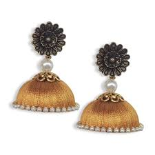 antique gold jhumka earrings silk thread large jhumkas antique gold with stud buy handmade