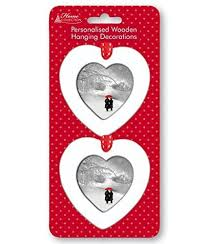 2 x personalised christmas tree decorations white wooden hearts