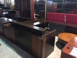 Espresso Reception Desk Used Office Reception In Atlanta Georgia Ga Furniturefinders