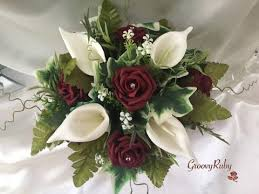 Burgundy Roses Burgundy Rose U0026 Ivory Calla Lily Small Round Table Arrangement