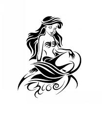 black ink ariel cartoon mermaid tattoo tattoo wf