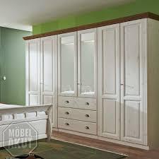 Schlafzimmerschrank Pinie Massiv Landhausmöbel Romantischer Kleiderschrank In Weiß Aus Massivholz