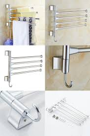 kitchen towel bar home cube 180 degree three arm stainless