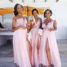 bridesmaid dresses for summer wedding 2018 pink chiffon bridesmaid dresses sheer neck cap sleeves