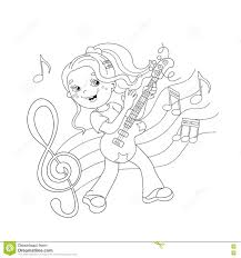 coloring page outline of playing the guitar stock vector