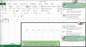 restoring full screen command in excel 2013 or later