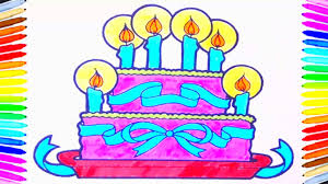 birthday cake coloring book fun painting learning colors how to