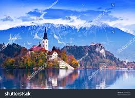 Slovenia Lake Bled Lake Island Castle Mountains Background Stock Photo 68546728