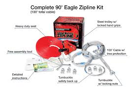 amazon com 90 u0027 eagle series seated zipline kit sports u0026 outdoors