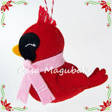 felt cardinal bird ornament diy stitched ornament