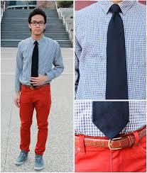 oliver r checkered dressed shirt black tie brown belt rust