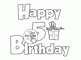 happy 5th birthday letters card coloring page for kids holiday