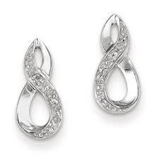 silver diamond earrings sterling silver diamond infinity earrings gemologica a
