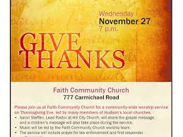 hudson community thanksgiving service hosted by faith community