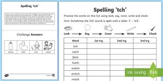 year 1 spelling practice ch sound spelt u0027tch u0027 homework