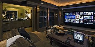 interior great looking theater room design with comfy brown