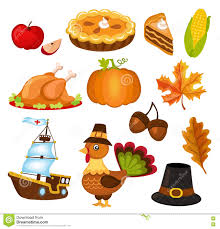 thanksgiving vector art set of colorful cartoon icons for thanksgiving day stock vector