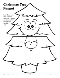 christmas tree paper bag puppet pattern printables