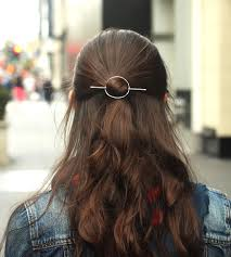 metal hair hammered circle hair barrette stick women s accessories