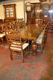 vintage solid oak refectory dining table u0026 8 chairs