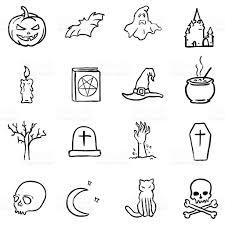 vector black doodle halloween icons royalty free stock vector art