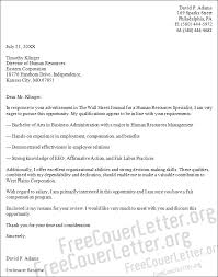 resources specialist cover letter sample