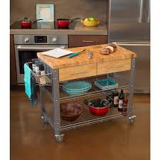 butcher block island kitchen cart stainless steel wood table