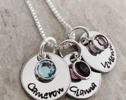 mothers necklace with kids birthstones mothers necklace etsy