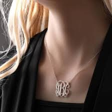 large monogram necklace personalized monogram necklace 925 sterling silver h 2 5 cm