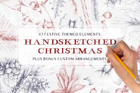 the hand sketched christmas pack inspiration hut marketplace