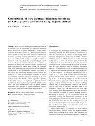 optimization of wire electrical discharge machining wedm process