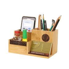 bureau en bambou bambou boîte de rangement pour contrôle récepteur organisateur