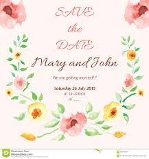 watercolor floral frame for wedding invitation stock vector
