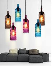 modern colorful wine bottle led pendant light brown blue Blue Glass Pendant Light