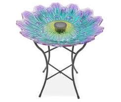 wilson and fisher solar lighted bird bath wilson fisher purple blue flower glass solar birdbath big lots