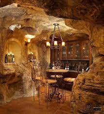 Wine Cellar Chandelier Rustic Wine Cellar With Built In Bookshelf Chandelier In