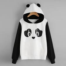 womens cat ear panda hoodie sweatshirt hooded pullover tops blouse